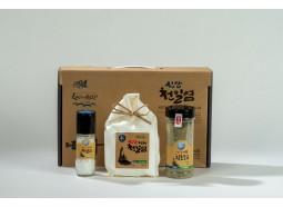 [남신안농협] 천일염선물세트 1호(천일염800g, 천일염(플라스틱용기)90g, 함초소금400g)